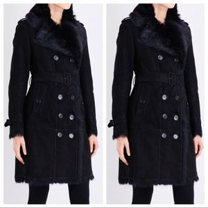 Burberry London shearling fur black trench coat